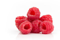 Red fresh raspberries isolated on white background. Group of raspberries on a white background Stock Image