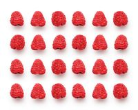 Red fresh raspberries on white background, studio image. Raspberry berries isolated on white, studio image. Fresh sweet berry background, summer time concept Royalty Free Stock Photography