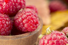Red fresh raspberries. In the wooden cup Stock Photos