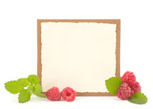 Red fresh raspberry with banner. On white background Stock Photography