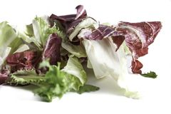 Salad radicchio and green lettuce isolated on white background, selective focus and and controlled blur . Red fresh salad radicchio and green lettuce mix teared Stock Photography