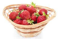 Red fresh strawberry in a bowl on white background Royalty Free Stock Photography