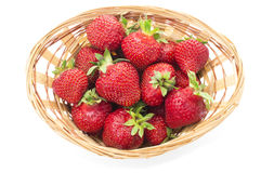 Red fresh strawberry in a bowl on white background Stock Image