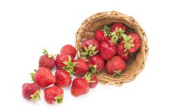 Red fresh strawberry in a bowl on white background Stock Photography
