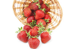 Red fresh strawberry in a bowl on white background Stock Photo