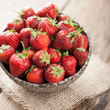 Red fresh strawberry in ceramic bowl Royalty Free Stock Photo