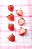 Red fresh strawberry on fabric Stock Image