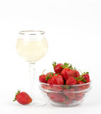 Red fresh strawberry in vase Stock Photography