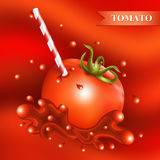 Red fresh tomato with tubule. Red fresh tomato with tubule on abstract red background. Vector illustration Stock Image