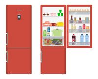 Red fridge with open doors, a full of food Royalty Free Stock Photography
