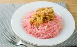 Red Fried Rice Vermicelli with Eggs and Scallion Stock Photos