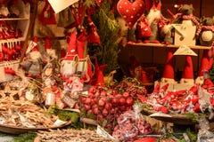 Red frills at Xmas market, Stuttgart Royalty Free Stock Photography