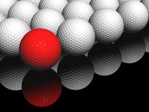 Red in front. A render of some golf balls with a red one in front Stock Photo