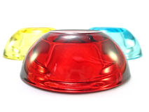 Red in front. Glass candle holders with red one in front Stock Photos