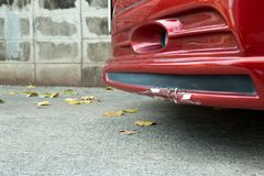 Red Front Bumper and Skirt of sedan car broken Royalty Free Stock Images
