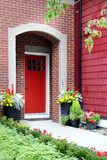 Red front door stock photo