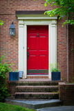Red front door. With stairs Stock Image