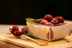 Red frozen berries stock photography