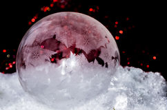 Red frozen bubble. Bubble freezing outside in front of some discarded christmas decoration Royalty Free Stock Photography