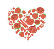 Red fruit berry heart love. Vegan vegetarian diet menu eco natural food. Pomegranate cranberry barberry rhubarb guava Stock Photos