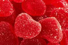 Red fruit candy in the form of the heart Stock Photos