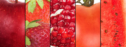 Red fruit collage Stock Photo