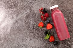 Red fruit juice. Top view Stock Images
