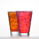 Red fruit and root beer flavour soft drinks  Stock Image
