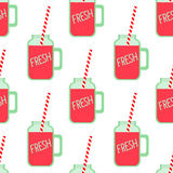 Red fruit smoothie in mason jar glass seamless pattern on white background. Royalty Free Stock Photo