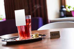 Red fruit tea in tearoom. Nobody.Reserve for friends Stock Photo