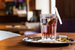Red fruit tea in tearoom. Nobody.Waiting for friends Royalty Free Stock Image
