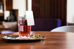 Red fruit tea in tearoom. Nobody.Waiting for friends Stock Photos