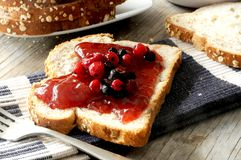 Red fruit toast morning healthy breakfast Royalty Free Stock Photos