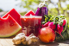 Red fruit and vegetable juice Royalty Free Stock Photo