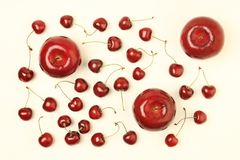 Red fruits apple cherry Stock Photo