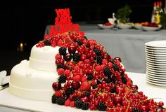 Red Fruits Cake - You and Me, Always & Forever Stock Images