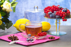 Red fruits tea with lemon Stock Photo