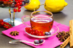 Red fruits tea with lemon and spices Royalty Free Stock Photo