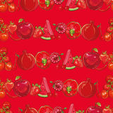 Red fruits and vegetables. Seamless background Stock Images