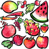 Red fruits and vegetables. Watercolor hand drawn fruits and vegetables. Royalty Free Stock Images