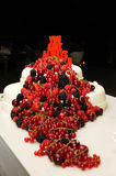 Red Fruits Wedding Cake Stock Photos