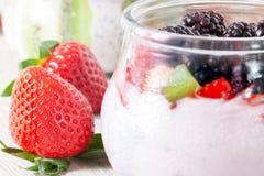 Red Fruits Yogurt Stock Photography