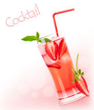 Red fruity cocktail border Royalty Free Stock Photo