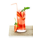 Red fruity strawberry cocktail Royalty Free Stock Images