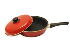 Red frying pan Royalty Free Stock Image