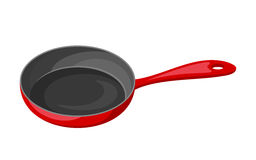 Red frying pan isolated on white. Vector illustration. Stock Image