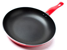 Red frying pan with teflon covering Stock Photography