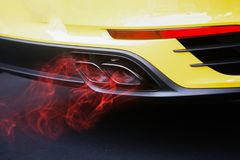Red fuel gas pollution car exhaust pipe Stock Photos
