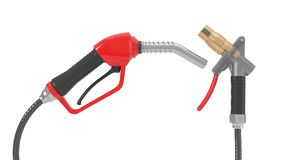 Red fuel nozzle and gas pump nozzle. 3d illustration. Isolated on white Royalty Free Stock Photography