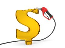 Red fuel nozzle pumping fuel in dollar sign form. close up view. 3d illustration. Isolated on white Stock Photos